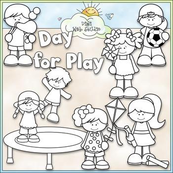 Day For Play Clip Art - Kids Playing Clip Art - CU Clip Art & B&W
