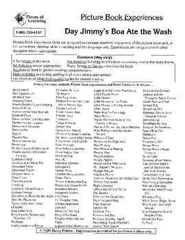 Day Jimmy's Boa Ate the Wash Literature Guide