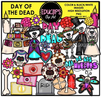 Day Of The Dead Clip Art Bundle {Educlips Clipart}