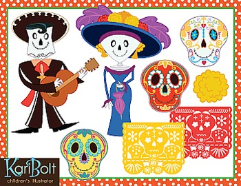 Day Of The Dead Dia de Muertos Decorations and Character Clip Art