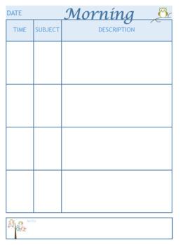 Day Plan Owl Theme *Editable