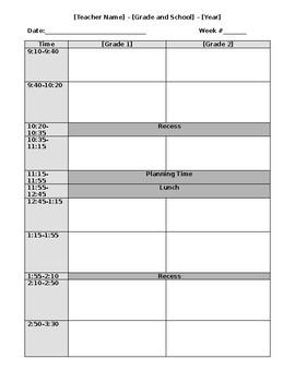 Day Plan Template for Split Grades by Amanda Allega | TpT