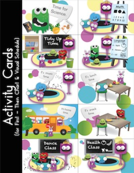 Day Plan & Visual Schedule with First Then Chart - Cute Monsters