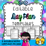 Day Plans (5 Editable Templates)