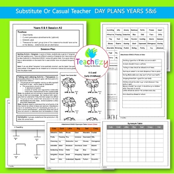 Substitute Teacher Day Plans for Grades 5 & 6 - 5 days