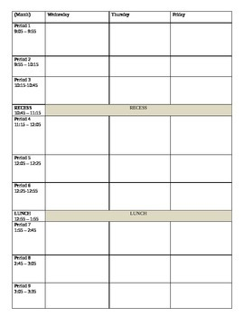 Day Plans: week at a glance