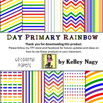 Day Primary Rainbow Digital Papers