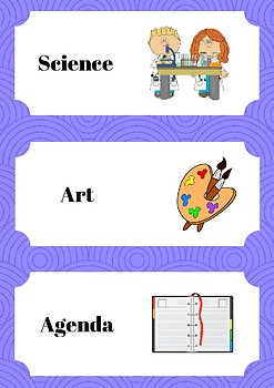 Day Schedule Cards Purple