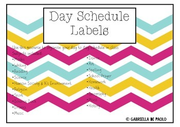 Day Schedule Labels