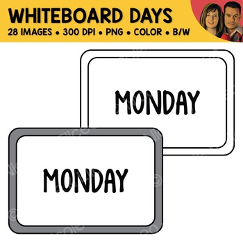 Day Whiteboard Clipart (English + Spanish)