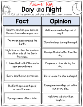 Day and Night Fact and Opinion Sort