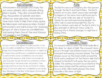 Day and Night, Moon Phases & Seasons Task Cards for Reading