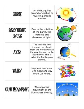 Day and Night Photo Vocabulary Cards