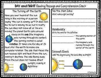 Day and Night Reading Passage and Diagram