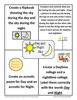 Day and Night Sky Choice Board