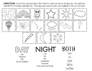 Day and Night Science Foldable