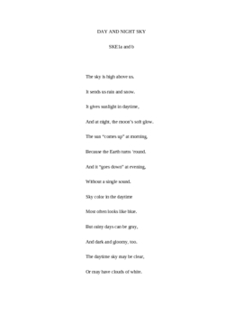 Day and Night Sky Poem