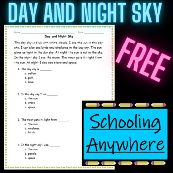Day and Night Sky Reading and Questions