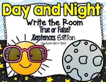 Day and Night Write the Room - True or False Sentences Edition