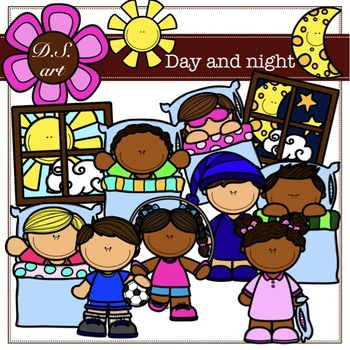 Day and night Digital Clipart (color and black&white)