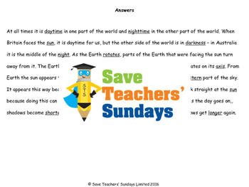 Day and Night Lesson Plan and Worksheet