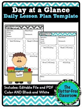 day at a glance lesson planner for your teacher binder template