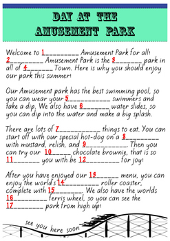 Day at the Amusement Park Madlibs