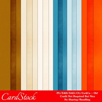Day at the Beach Colors Cardstock Digital Papers