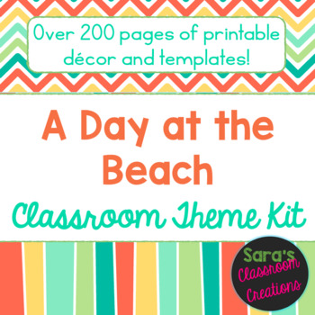 Beach Colors (Coral, Teal, Green, & Yellow) Classroom Theme Decor Kit- EDITABLE