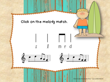Day at the Beach--Melodic Notation Recognition Game {pentatonic}