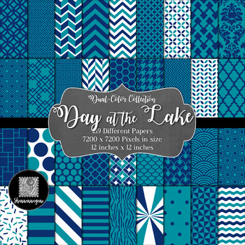 12x12 Digital Paper - Color Scheme Collection: Day at the Lake (600dpi)
