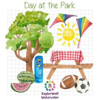 Day at the Park - Watercolor Summer Fun Clipart