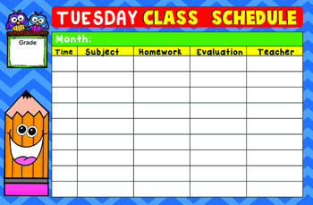 Day by Day Class Schedule