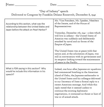 Day of Infamy Speech and Questions - FDR