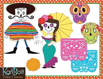 Day of The Dead Dia de Muertos Clip Art Bundle