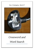 Day of Unplugging - March 5th Crossword Puzzle Word Search Bell Ringer