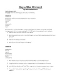Day of the Blizzard Comprehension questions and vocabulary words