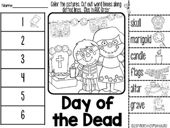 Day of the Dead ABC Order Cut and Paste Activity