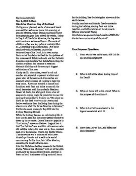 Day of the Dead Article and Comprehension Questions