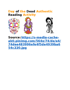 Day of the Dead Authentic Reading Activity
