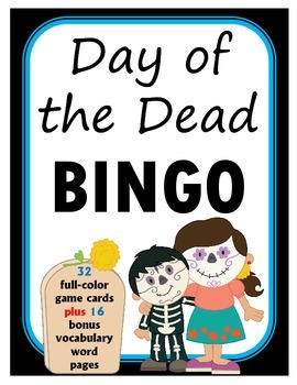 Day of the Dead BINGO + 16 bonus pages of vocabulary words