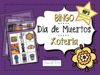 Day of Dead BINGO MP3 Vocabulary Pronnciation Spanish + 2-Game Audio Dia Muertos
