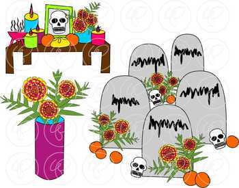 Day of the Dead Celebration (Dia de los Muertos) Clipart by Poppydreamz