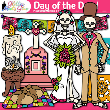 Day of the Dead Clip Art {Dia de los Muertos Sugar Skull, Skeleton, & Butterfly}