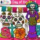 Day of the Dead Clip Art   Dia de los Muertos Sugar Skull, Skeleton, & Butterfly