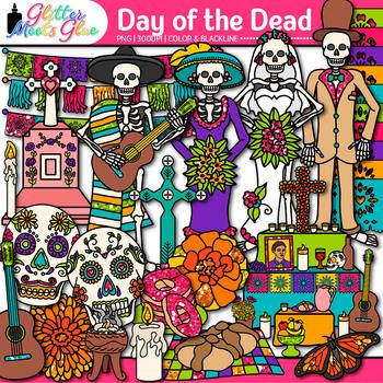 day of the dead clip art dia de los muertos sugar skull skeleton