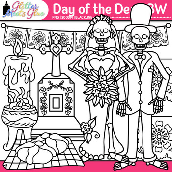 Day of the Dead Clip Art {Dia de los Muertos for Worksheets & Handouts} B&W