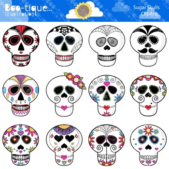 Day of the Dead Clipart. Sugar Skulls Clipart. Day of the Dead Clip Art.
