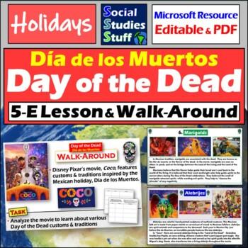 """Day of the Dead & """"Coco"""" Walkaround Activity & 5E Lesson - Día de los Muertos"""
