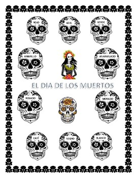 Color the Calaveras & Headband -Spanish Colors Word Search-DAY OF THE DEAD
